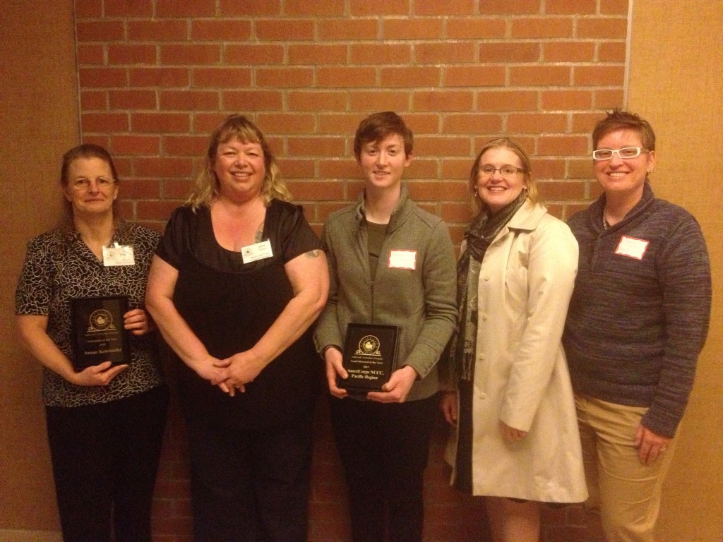 Left to right, Susan Kotelnicki 2013 Volunteer of the Year, Janet Voris Program Manager, Kara Snyder, Jennifer Szeliga, & Deanne Young-Reeves on behalf of AmeriCorp NCCC our 2013 Land Steward of the Year.