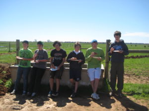 Eagle Scout candidate Neil Brinkerhoff, standing at right, and fellow Boy Scouts take a break from fencing work at Swainsons Grassland Preserve.