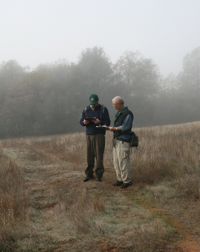 PLT volunteers record the conservation values of the Warren property.