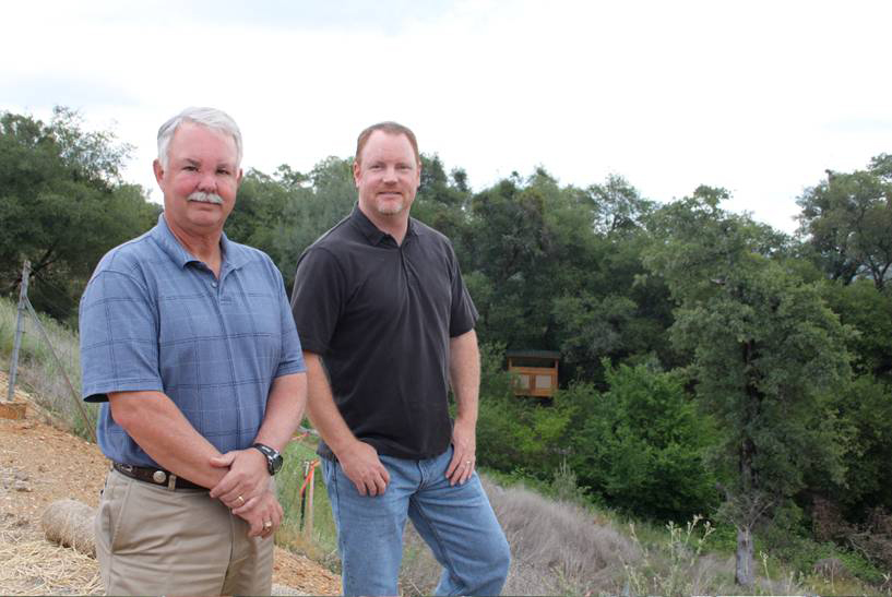 Mike Nichol and Jeff Darlington on the new trail at Canyon View Preserve in Auburn.